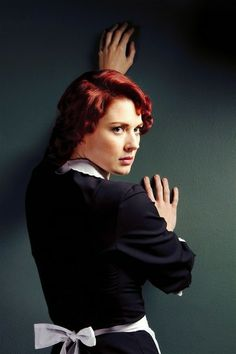 """Clare Richards works as a """"mute"""" maid on the cruise ship and has a hidden agenda. Alexandra Breckenridge, American Horror Story, Moira O Hara, Moira Ahs, Walking Dead Girl, Hidden Agenda, Cool Graphic Tees, Coven, Horror Stories"""