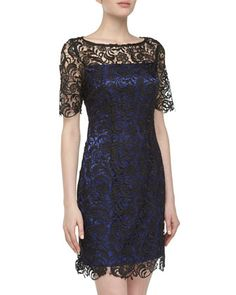 Short-Sleeve+Lace+Dress,+Black/Blue+by+Laundry+by+Shelli+Segal+at+Neiman+Marcus+Last+Call.