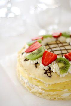 strawberry kiwi mango crepe cake #delish #recipe #pretty