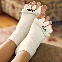 The Original Foot Alignment Socks Relief for bunions, hammer toes, cramps...and tired feet! They looks strange, but I seriously think these would help my aching feet at night!