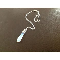 Mini opalite crystal pendant necklace pendulum with silver chain (105 DKK) ❤ liked on Polyvore featuring jewelry, necklaces, mini pendant necklace, silver jewellery, silver chain jewelry, crystal necklace and chains jewelry
