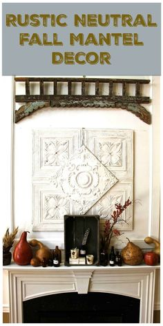 Fall Mantel decor - using vintage elements of tin ceiling, weathered wood tulip crate, natural gourds, wheat, feathers and amber glass. - 2 Bees in a Pod