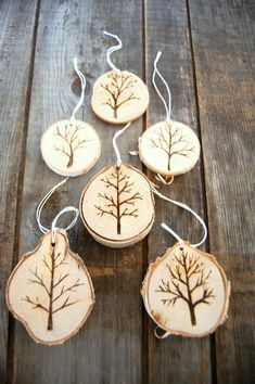 Wood burned Christmas tree ornaments bare tree holiday Christmas ornament rustic Vermont forest birch wood unique design
