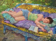 david hettinger - see, these are my kind of girls. They're all laying around, reading a book. I can relate. If only they all had a cup of coffee as well.