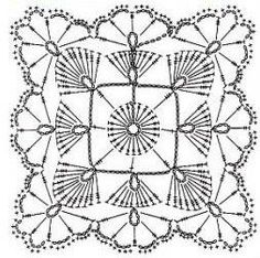 A lacy crochet square pattern with a circle in the interior. More Great Patterns Like This: