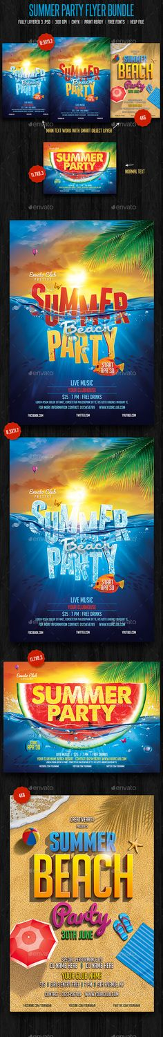 Summer Beach Party Bundle Tempalte #design Download: http://graphicriver.net/item/summer-beach-party-bundle/11212125?ref=ksioks
