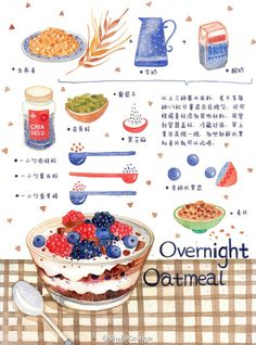 35 Ideas For Baking Illustration Cake Cute Food, Yummy Food, Desserts Drawing, Recipe Drawing, Food Doodles, Food Sketch, Watercolor Food, Food Painting, Food Journal