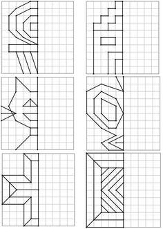 Voici un nouveau dos Kids Math Worksheets, Preschool Activities, Symmetry Math, Graph Paper Art, Cycle 2, Math Art, Math For Kids, Home Schooling, Kids Education