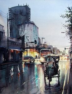 Khonkaen night time 3 by Direk Kingnok Watercolor ~ 36 cm x 50 cm