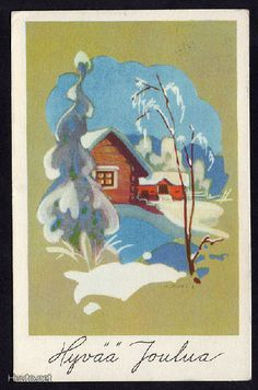Martta Wendelin Childrens Christmas, Retro Christmas, Vintage Christmas Cards, Vintage Holiday, Christmas Art, Christmas Greetings, Xmas, Over The River, Scandinavian Christmas