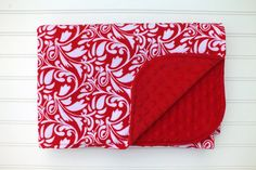 Flannel and Minky Baby Blanket Red and White by BlackKatStudio