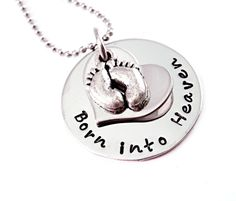 Getting this to remibd me & to tske Angel w me everywhere & everyday w me. Personalized Infant Baby Memorial Necklace - Born Into Heaven- Infant Loss - Child Loss - Baby Loss - Pregnancy Loss - Miscarriage [would want baby's name stamped on heart] Miscarriage Remembrance, Miscarriage Awareness, Infant Loss Awareness, Pregnancy And Infant Loss, Stillborn, Child Loss, Thing 1, Baby Memories, Memorial Jewelry
