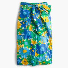 J.Crew - Tie-waist skirt in puckered morning floral
