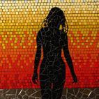 Sunset silhoette mosaic mural in ceramic tile