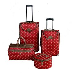<li>Travel to your next destination in style with this attractive 4-piece fashion luggage set from American Flyer <li>Classic fleur de lis styling makes spotting your luggage on the carousel easy