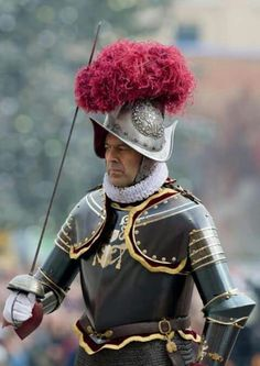 The new commander of the Swiss guard. Swiss Guard, Military Drawings, Honor Guard, Knight Armor, Medieval Armor, Special Forces, Swiss Army, Roman Catholic, Christianity