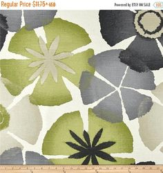 SHIPS SAME DAY Pure Petals Greystone Fabric by Robert Allen @ Home, Floral Print Home Decor Fabric, Green, Grey, Charcoal, Tan By the yard