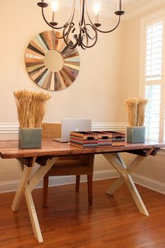 stained hand painted wood pine farm table or desk custom made handmade 6 foot 65000 building an office desk