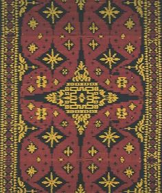 Weft ikat fabric. Popular throughout the region. This type of fabric has also become popular for modern interiors.