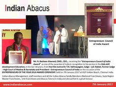 """Mr. N. Basheer Ahamed CMD. CEO.  receiving the """"Entrepreneurs Council of India                                                                 Award""""  as one of the awardee of India in recognition to his service in the Kids skill development Education in"""