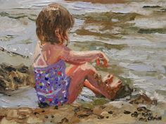 Olivia at the beach by Missouri artist Kay Crain, painting by artist Kay Crain