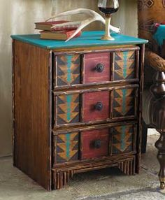 Are you looking for your next DIY project? Check out these pieces of southwest furniture and you decide - to buy or DIY? Western Furniture, Rustic Furniture, Painted Furniture, Diy Furniture, Hickory Furniture, Lodge Furniture, Furniture Design, Southwestern Decorating, Southwest Decor
