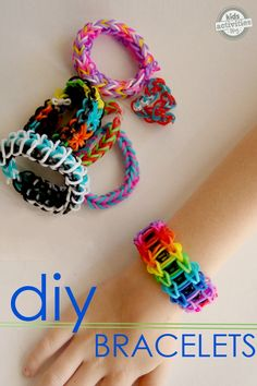 These rainbow band bracelets are the rage with my kiddos!  These are our favorite tutorials.