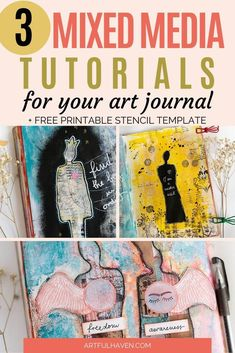 Mixed media tutorials for art journaling with free printable stencils. Step-by-step mixed media tutorial. Mixed media tutorials for art journaling with free printable stencils. Step-by-step mixed media tutorial. Art Journal Backgrounds, Art Journal Pages, Art Journals, Collage Art Mixed Media, Mixed Media Canvas, Word Collage, Collage Sheet, Free Printable Art, Printable Stencils