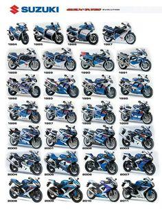Suzuki Motorcycles GSX-R 750 evolution 1984 – 2011 looks like some awesome bikes… - Motocicleta Suzuki Motos, Suzuki Bikes, Suzuki Gsx R 750, Suzuki Motorcycle, Moto Bike, Suzuki Cafe Racer, Motorcycle Posters, Motorcycle Types, Motorcycle Bike