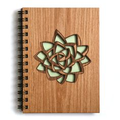 Mint Succulent Wood Journal por Cardtorial en Etsy
