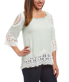 Look what I found on #zulily! Mint Lace-Trim Three-Quarter Sleeve Top #zulilyfinds