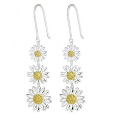 Daisy London Triple Drop Silver Daisy Earrings ($140) ❤ liked on Polyvore featuring jewelry, earrings, silver, fish hook earrings, earrings jewelry, silver jewellery, daisy jewellery and daisy jewelry