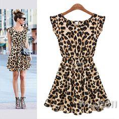016a534ed44 Sexy Women Crew Neck Leopard Print Party Tunic Skater Swing Mini Dress  Sundress Vestido Casual