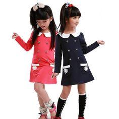 new style girls dress children long-sleeved dress lapel children clothing2