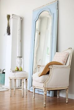 vintage mirrors, living rooms, mirror mirror, dreamy whites, shabby chic, chair makeover, old doors, baby blues, bedroom