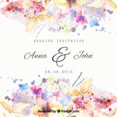 水彩画のスタイルで花の結婚式の招待状