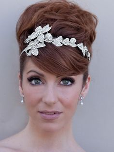 Rhinestone Flower Headband Tiara by Hair Comes the Bride...but I want my hair down to the side and this over the ear possibly