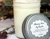 Lavender soy wax candle from HarmonyFarmCandles.etsy.com