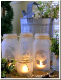 mason jar tealights, crafts, mason jars, Simple spray glass frosting on mason jars