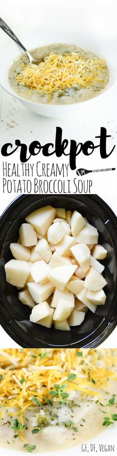 Dairy-Free Crockpot Broccoli Potato Soup recipe made healthy! It's delicious, it's creamy, and it is chock-full of potatoes and broccoli! Best way to a hearty, warm, and filling meal. {Gluten-Free, Dairy-Free and Vegan friendly} #ad #beholdpotatoes