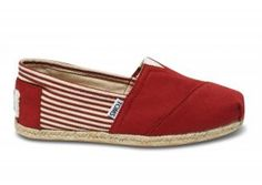 $32.00University Rope Sole Red Womens Classic Toms Shoes [toms-108] :