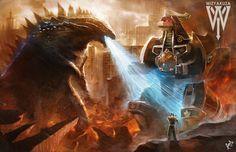 Godzilla vs. Green Ranger Dragonzord Power Rangers by Wizyakuza