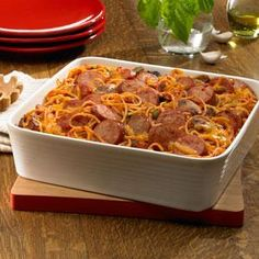 Baked Smoked Sausage Spaghetti Casserole Recipe from our friends at Johnsonville®