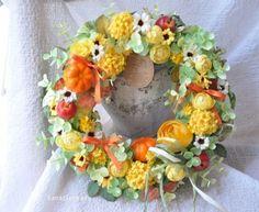 yellow fantasy:orange ribbon wreath