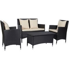 The angelo:HOME Napa Estate set features 2 resin wicker arm chairs, a loveseat and a cocktail table. Ideal for small space living, this set can be used for both indoor and outdoor living.