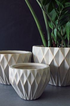Set of 3 Geometric Plant Pots - Ivory  Gold~Rockett St George, one of my favourite stores for Home accessories.