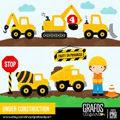 UNDER CONSTRUCTION  - Digital Clipart Set, Construction Clipart, Construction Trucks Clipart, Construction Signs. by GRAFOSclipart on Etsy https://www.etsy.com/uk/listing/241820247/under-construction-digital-clipart-set