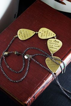 In My Life - - Hand stamped lyrics, guitar pick necklace