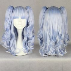 Japanese Harajuku Ice Blue Muxed Cosplay Long Curly Lolita Party Wig Vogue 437A