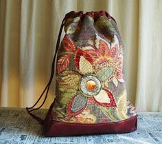 LARGE UPCYCLED DRAWSTRING BACK PACK - This back pack is full of color, pattern, texture and shine...Simply Gorgeous...Bright and cheery! This is
